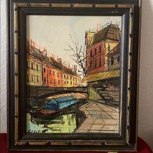 Vintage 1970's Framed French Souvenir Oil / Canvas